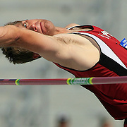"11 JUNE 2008: Stanford decathlete Josh Hustedt eyes the bar set at 6' 4""in the high jump Wednesday as he make a clearance worth 740 points. The NCAA Division 1 Men's and Women's Track & Field Championships in Des Moines, Iowa, was in it's first of four days of competition.  David Peterson"
