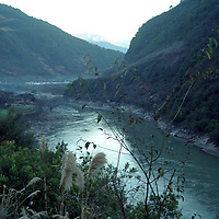 """DEQIN COUNTY, DECEMBER 17, 2000:the Mekong river in deqin county, Yunnan province , December 17, 2000..The area is believed to be part of the areas on which James Hilton's famous novel """" lost Horizon""""- a description of Shangri-La- is modelled.. ."""
